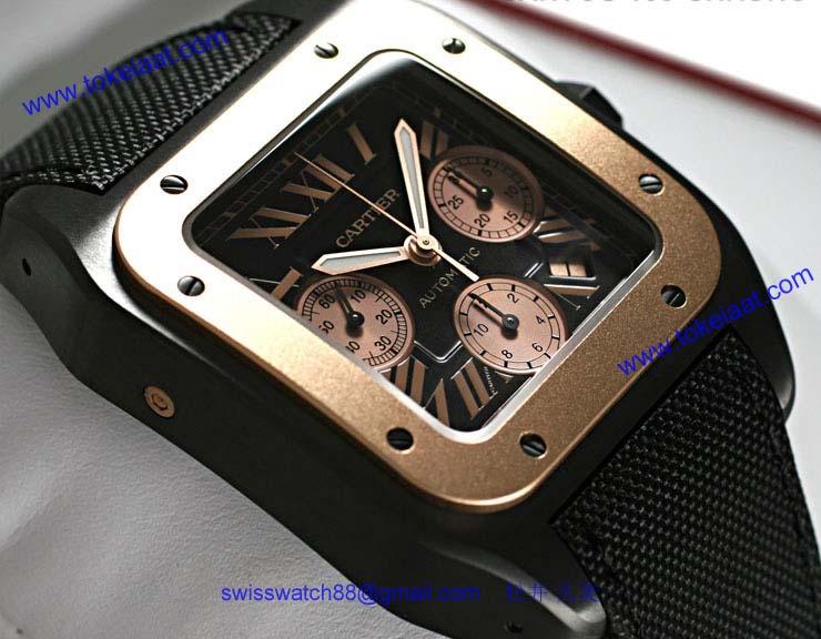ブランド CARTIERカルティエ 時計コピー サントス100 クロノLM カーボン コンビ W2020004
